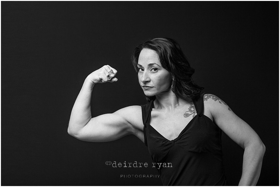 Studio portrait of Roseanne by Deirdre Ryan Photography, fitness, powerlifter, sculpted arms, black and white portrait