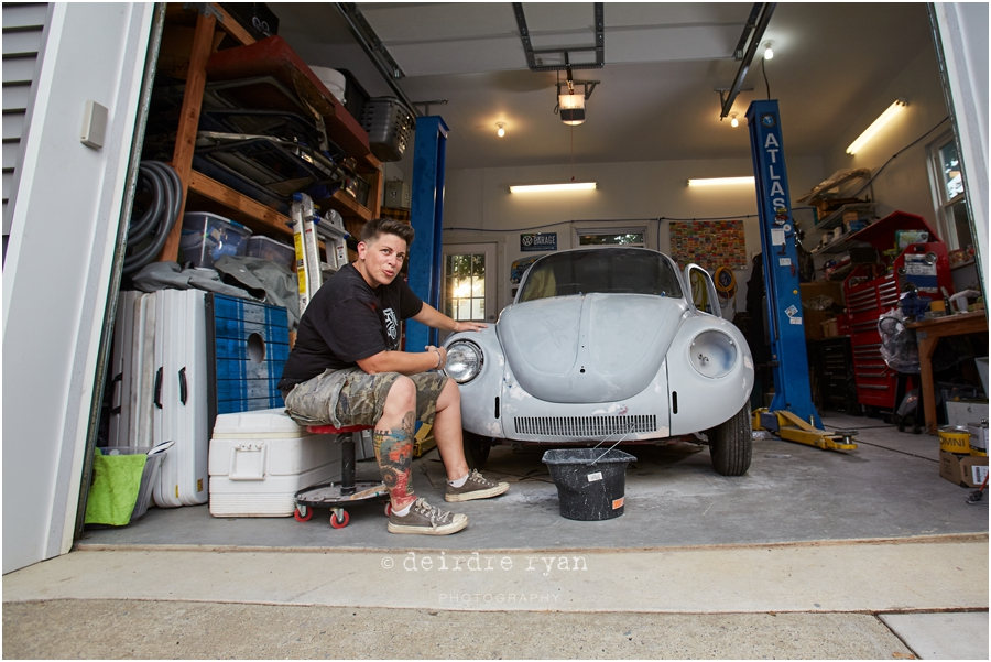 women mechanics,VW Bug,garage,turning wrenches,portrait,personal photo project,cars,NJ,branding photographer,