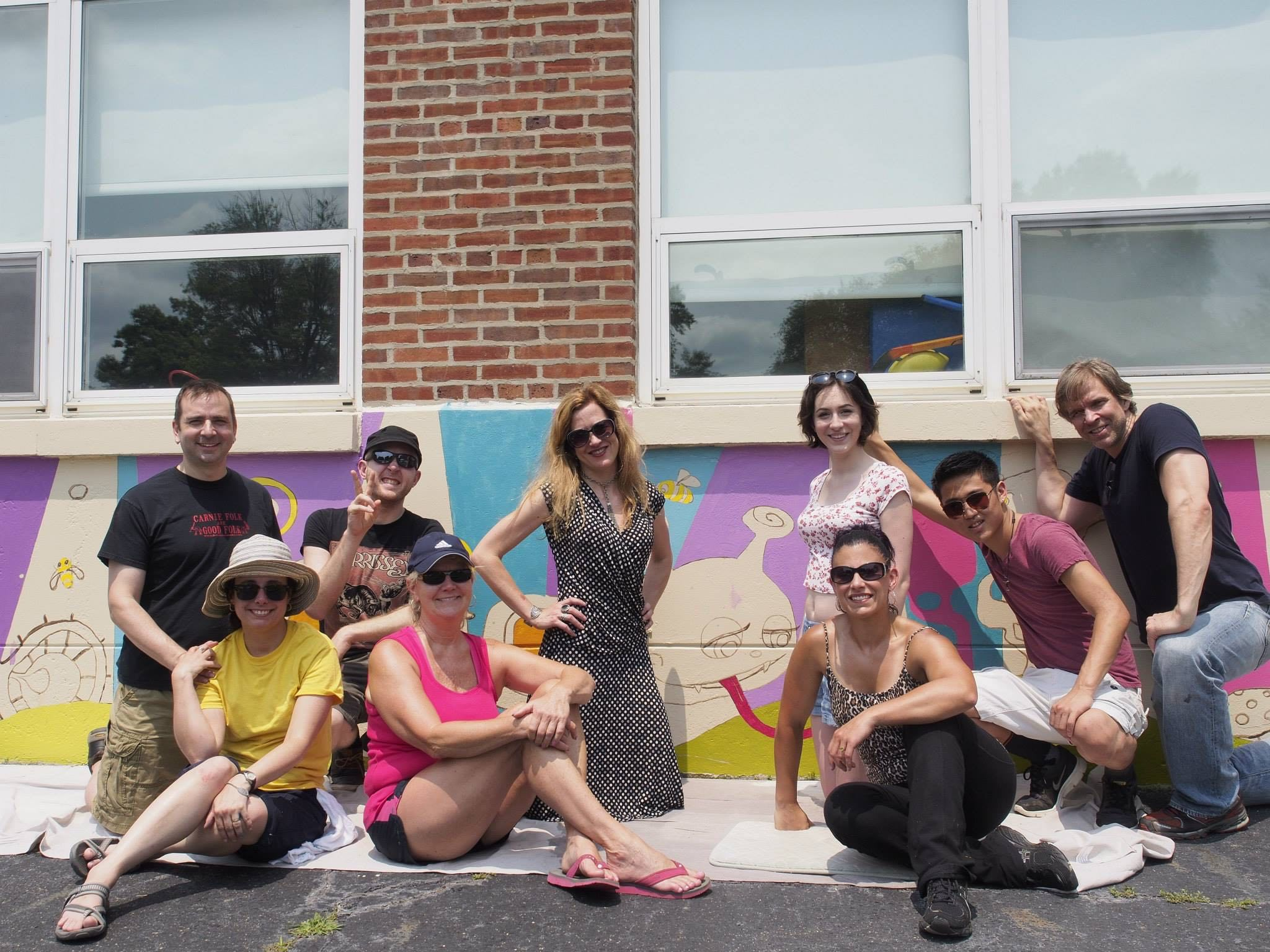 Clara Barton Elementary School Mural Painting Volunteers-Photo By Mike Neuhaus -www.centraliaandbeyond.com