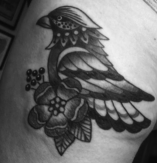 Photo By Julianna Menna Ceremony Tattoo Society, Philadelphia, PA, www.juliannamenna.com, black and white bird tattoo