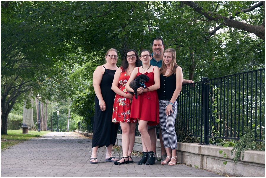 family, mother, father, dog, sisters, daughters, family photography session, outdoor photo session, Hilltop Park, Bordentown, NJ, Photo by Deirdre Ryan Photography, www.deirdreryanphotography.com